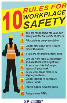 Safety poster 10 rules for workplace safety safety poster shop - Pics Photos Poster Title 10 Rules For Workplace Safety